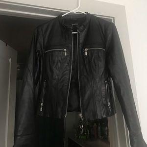 bebe 100% leather/moto jacket, black
